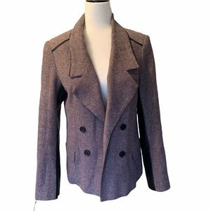 Tweed Open Front Double Breasted Jacket Rose